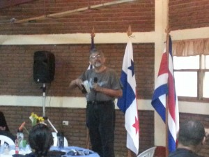 Pastor from Salvador leading devotions